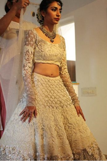 White Embroidered #Lehenga.<3