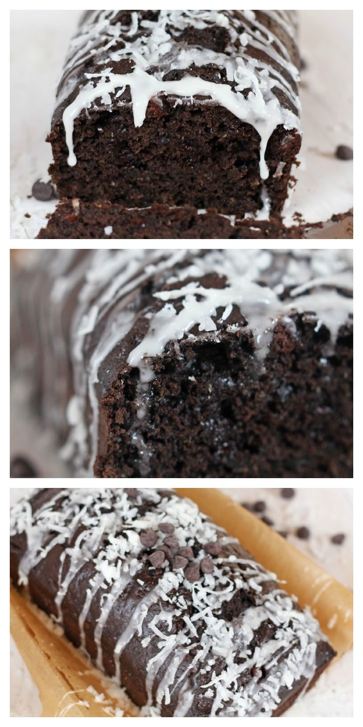 Dark Chocolate Zucchini Bread with Coconut Glaze. I'm thinking as muffins without the glaze...