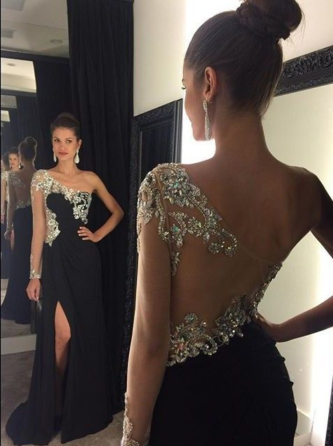 One Shoulder Evening Dress,Modest Evening Gowns,Beaded Party Gowns,Prom Dresses with Slit,Evening Dresses for Teens