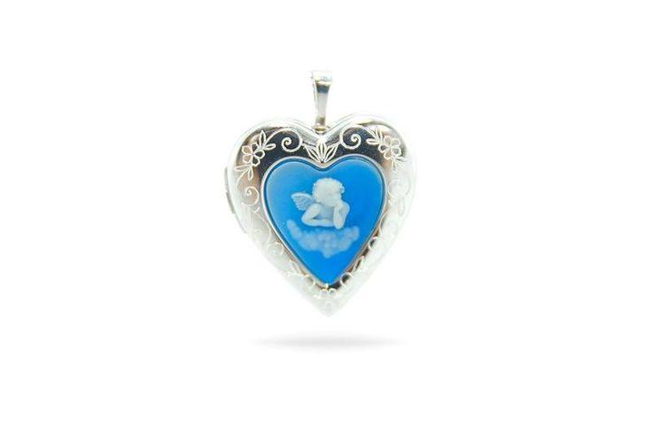 Anhänger Medaillon Herz mit Schutzengel 925 Silber