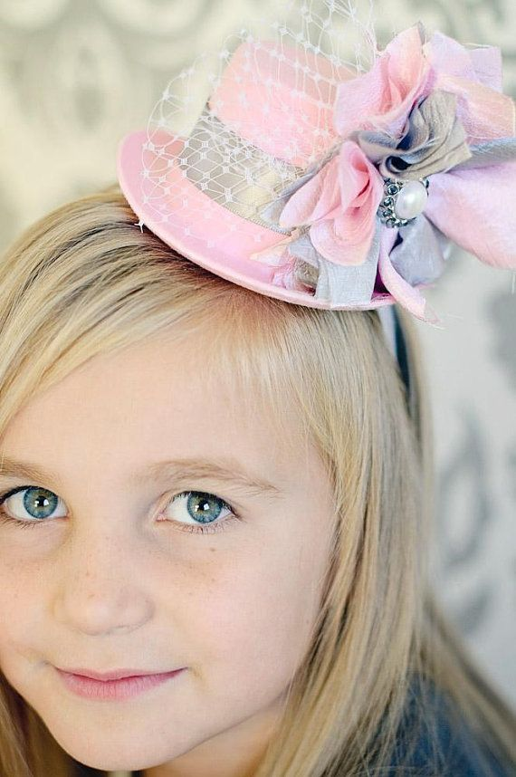 Mini Top Hats-Mini Top Hat Fascinator-Pink Mini Top Hat-Easter Hats-Baby Headbands-Alice In wonderland-Tea Party-Birthday party-Photo Props on Etsy, $24.99