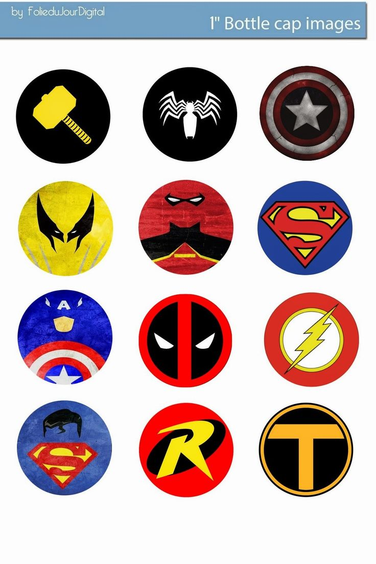 Free Bottle Cap Images: Marvel comics free digital bottle cap images