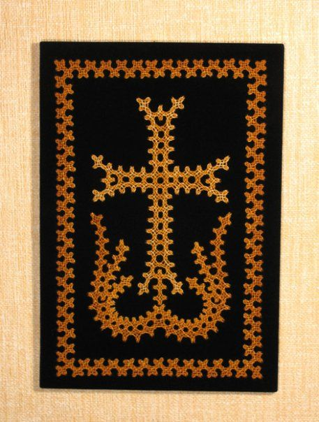 Embroidered crosses, Marash stitch. Thread used for the embroidery: Cotton pearl 8 - Size: 15.5x22.5 cm - http://arm-handmade.blogspot.com/2010/02/embroidered-marash-stitch.html