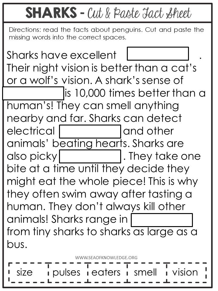 Sharks Nonfiction Facts Cut And Paste Worksheet Sea Of Knowledge