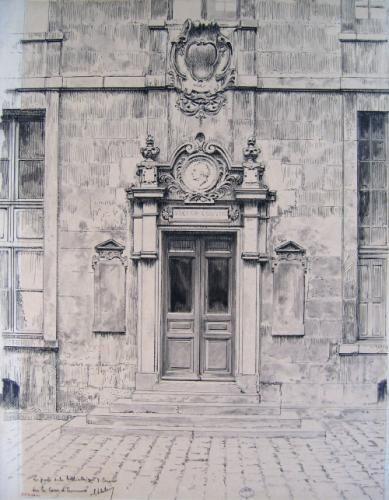 La porte de la bibliothèque Victor Cousin, sur la cour d'honneur de la Sorbonne | Paris Musées