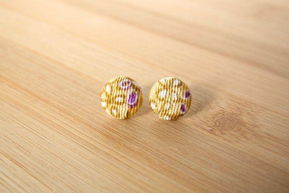 Japanese kimono fabric post earrings  yellow with by sarabamanda