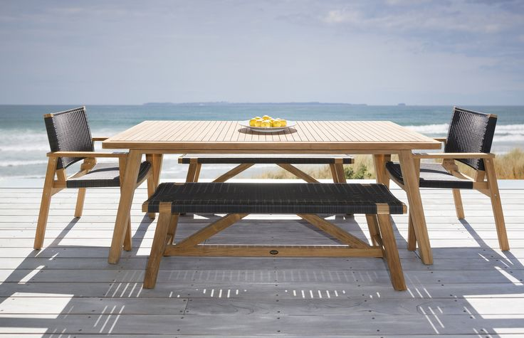 Porter 2400 dining table shown with Waipuna Chairs and 1800 Sawyer Benches by DEVON