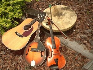A few traditional Irish instruments, this picture is missing the uilleann pipes! To see what uilleann piper Patrick is up to, http://www.piobagusfidil.com/events