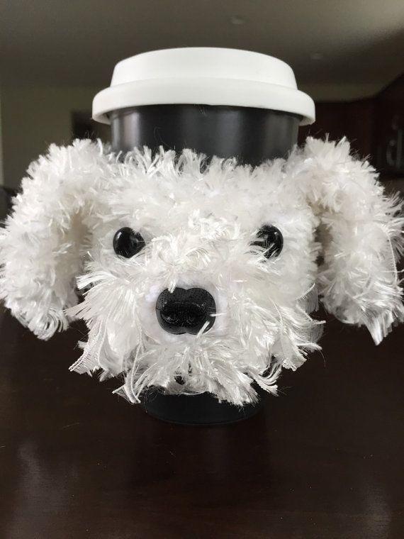 Maltese Mug Cozy by HookedbyAngel on Etsy