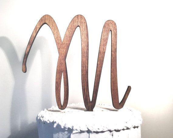 Wooden Wedding Cake Topper: Letter M, Monogram Cake Topper, Rustic Cake Topper, Handmade Cake Topper