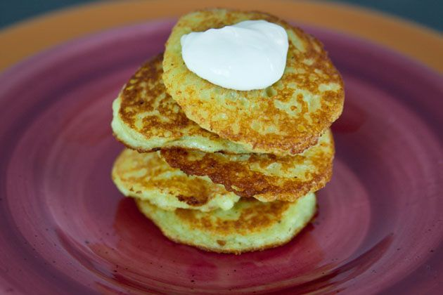 potato pancakes -- 11/17/12 -- This one was a forgotten recipe in my home. Just as good as I remembered and great for breakfast or lunch. Depending on the meal you could add bacon, cheese, mushrooms, spinach...whatever you like. However, if you omit the onions they will brown...but they still taste great!