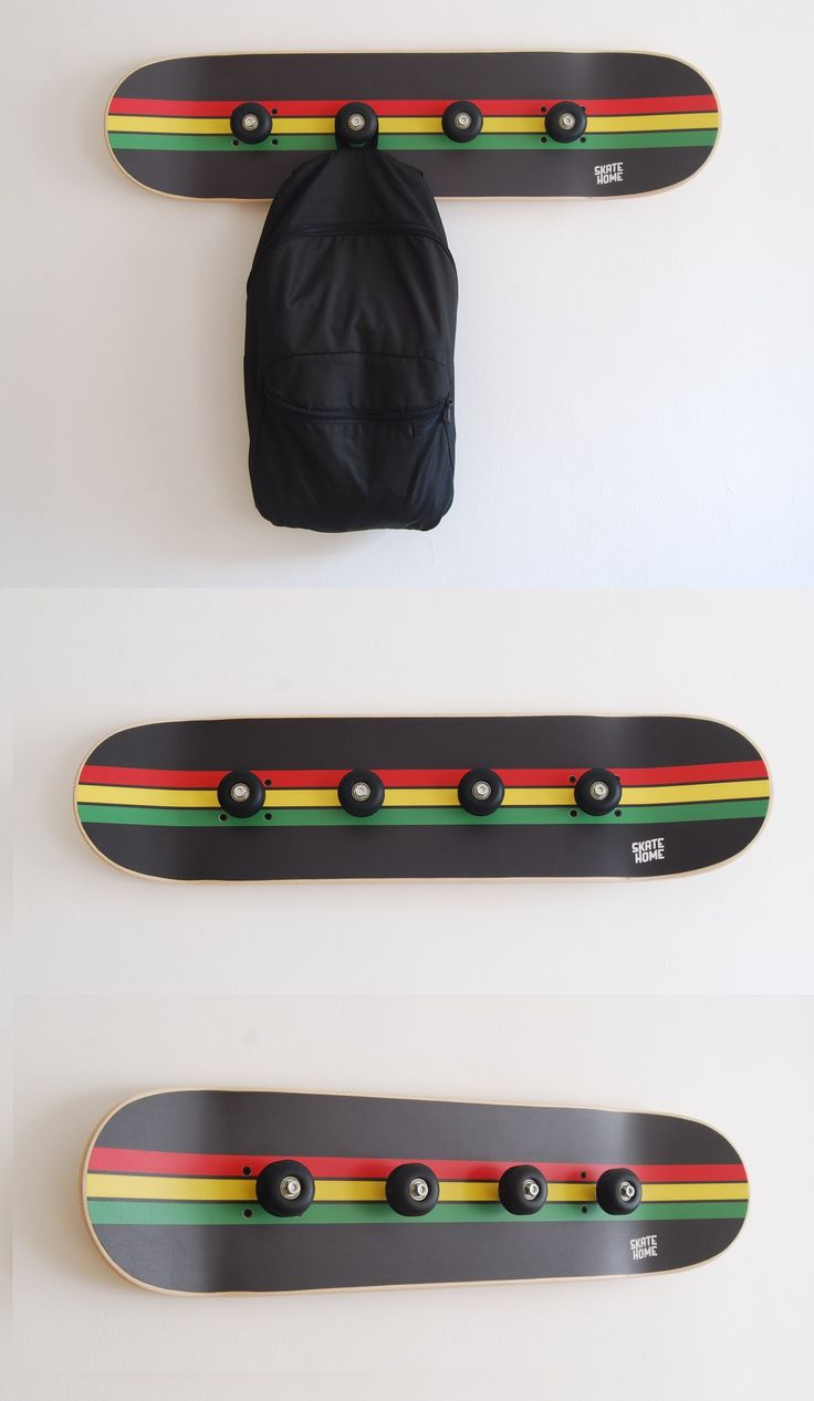 Skateboard Coat Rack   Rasta