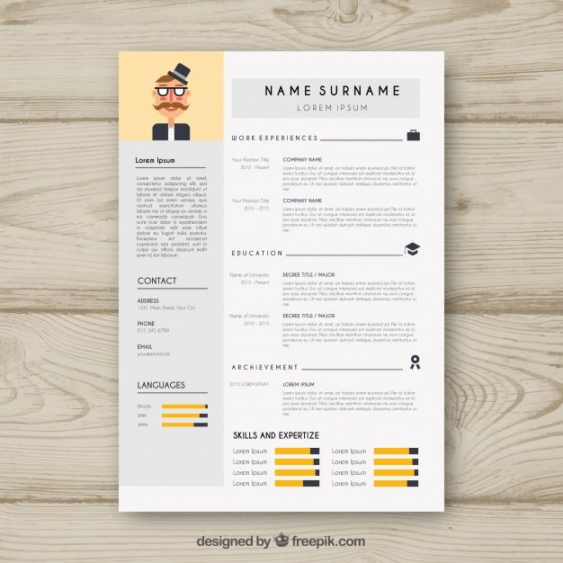 Free vector Cv template with infographic data #24004