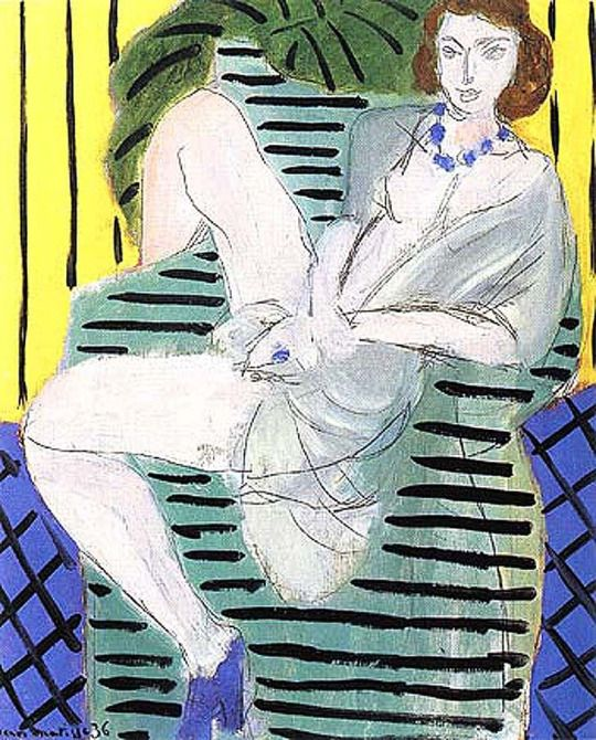 Woman in an Armchair on a Blue and Yellow Background - Henri Matisse 1936