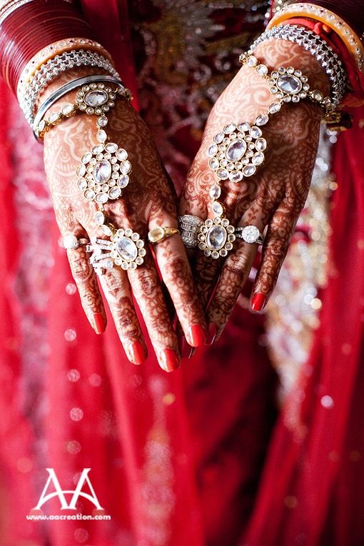 """Beautiful """"Hathphool"""": Hathphools or an elaborate ornament which can be best described as a single elaborate ornament which contains rings to be worn on all the fingers that are connected to a wrist band as shown above."""