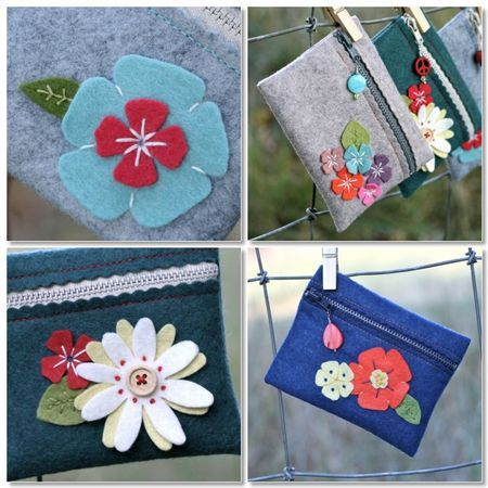 Coin purses with felt flowers- So cute! (Can you tell I'm stuck on felt projects right now?)