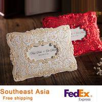 Wedding Invitations Gold Red Lace Hollow Invitations Laser Cutting Invitation Cards With Hot Stamping Flowers 100pcs/lot HQ1036