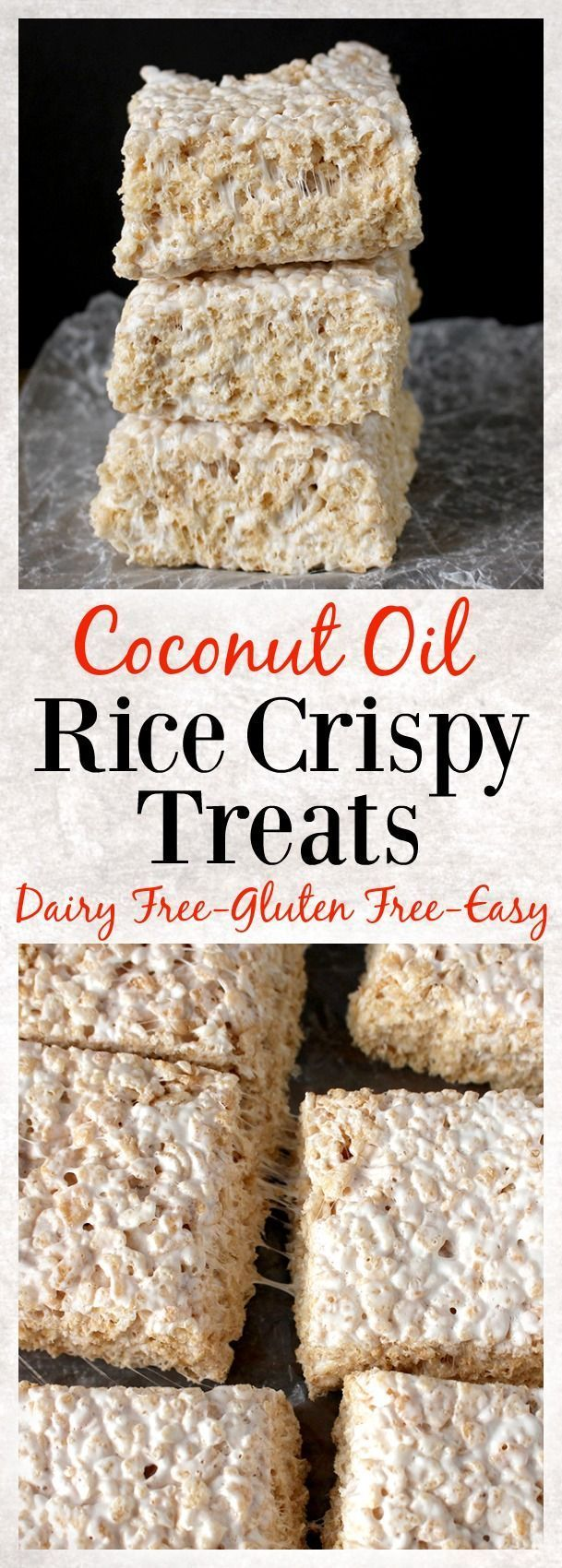 Coconut Oil Rice Crispy Treats. 3 ingredients and 10 minutes until these easy treats are ready! Gluten free, dairy free, and so delicious!!