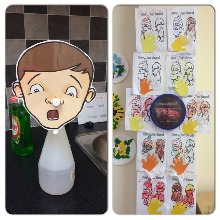 Catch a sneeze activity. Squirt bottle with clip art face put nozzle through nose and squirt to show germs speeding like when sneezing! Catch a sneeze colouring pages with tissue and hand cut out attached. #manners #preschool # sneeze