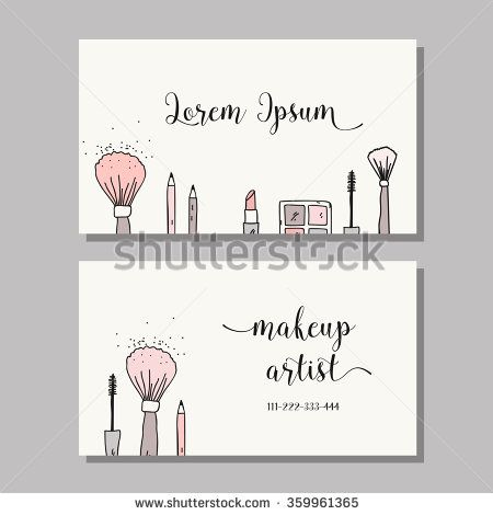 Makeup artist business card. Vector template with makeup items pattern - brush…