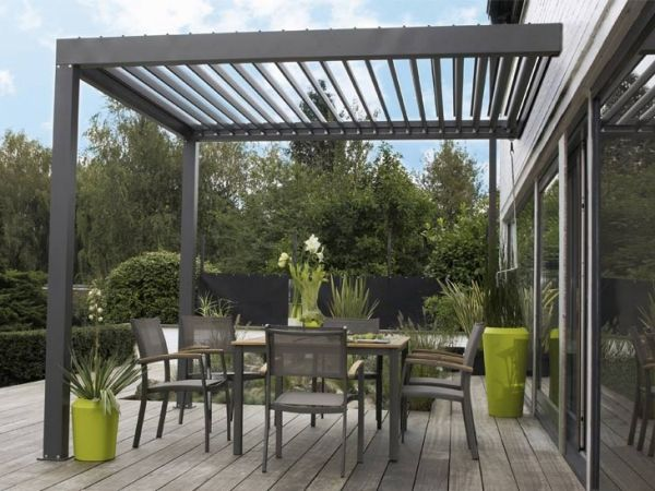 auvent de terrasse aluminium avec un sol en bois bangkirai design interieur et r novation. Black Bedroom Furniture Sets. Home Design Ideas