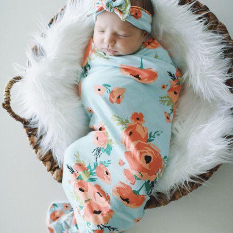 Coral Poppy Swaddle Blanket & Headband Set