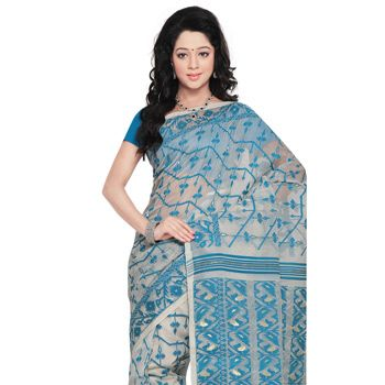 Light Grey Cotton Dhakai Jamdani Handloom Saree With Blouse Online Shopping: SPN1154