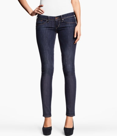 Super Skinny Super Low Jeans. 5-pocket ultra low-rise jeans in washed stretch denim with ultra-slim legs. $19.95