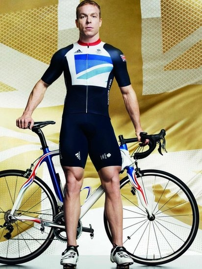 4 x Gold medal-winning cyclist Chris Hoy in the new Team GB kit.