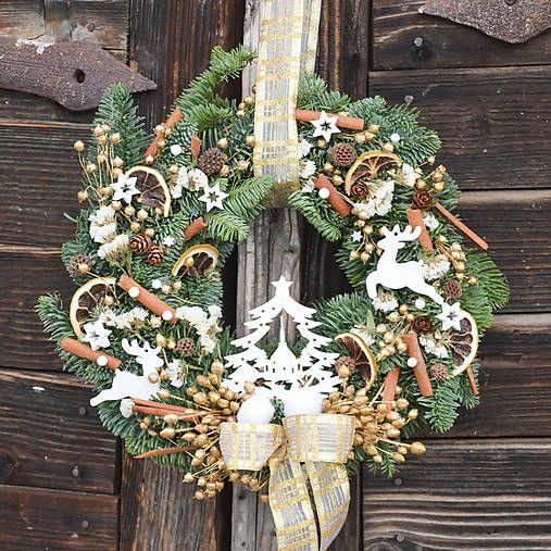 Hydrangea / Prírodný vianočný venček na dvere z jedličky