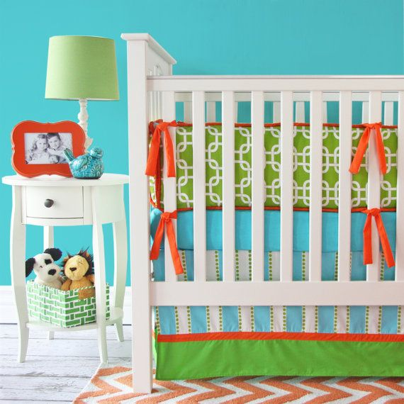 Hey, I found this really awesome Etsy listing at https://www.etsy.com/listing/166562787/bright-baby-green-baby-bedding-set