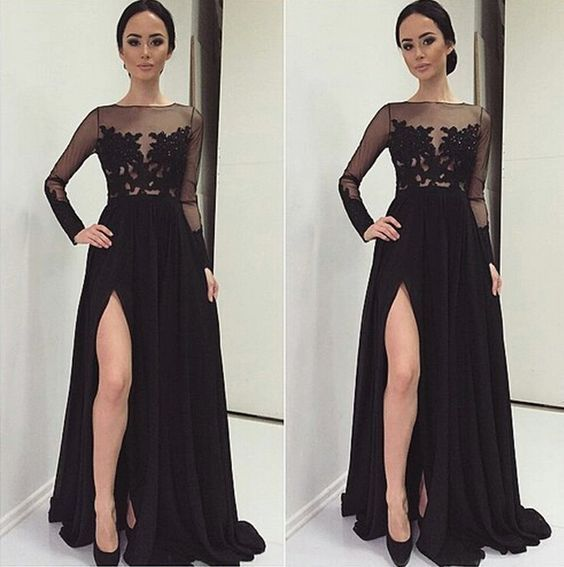 Black Prom Dresses,Lace Evening Dress,Sexy Prom Dress,Prom Dresses With Long Sleeves,Open Back…
