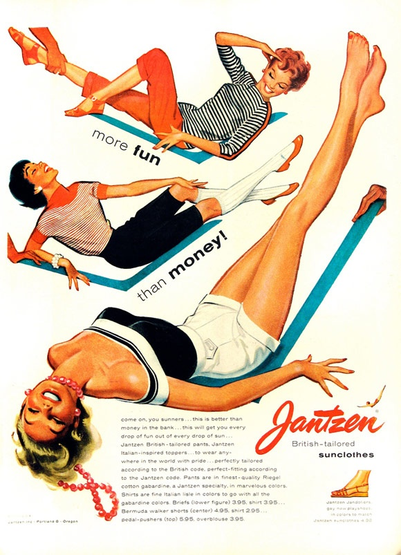 More fun than money? Who sold you on that one? If I may ask...what are you gals sitting on and why is the girl in white shorts upside down?