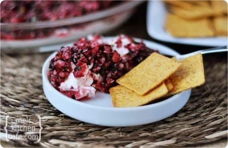 My sister-in-law made this opposites-attract dip recently and it was awesome.  Would be perfect for Thanksgiving appetizer.  Cranberry-Jalapeno Dip