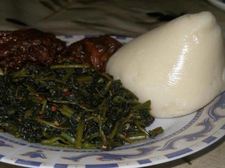 Fufu Corn and Njama-Njama with Katikati
