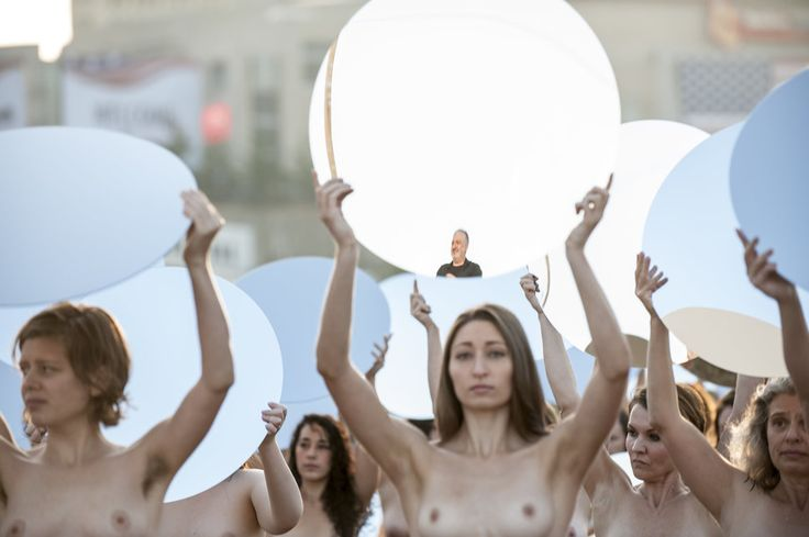 "Spencer Tunick, ""Everything She Says Means Everything,"" 17 July 2016 (Cleveland). 100 women posed at the start of the Republican National Convention."