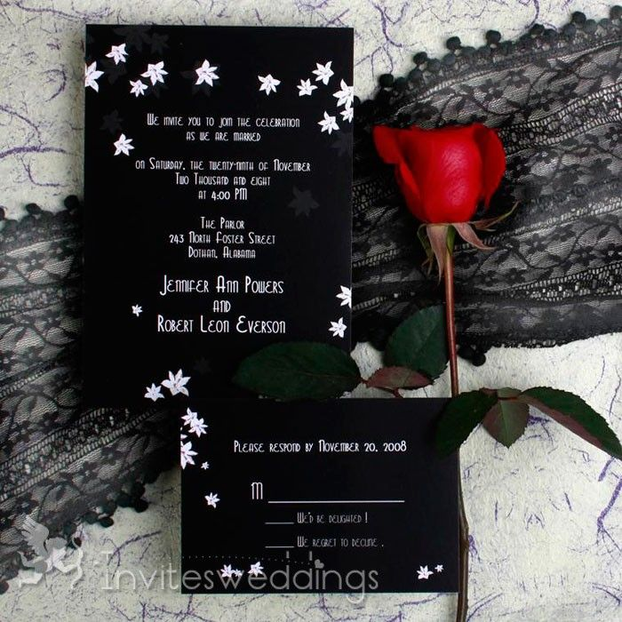 wedding invitation sample by email%0A Black and White Floral Wedding Invitations