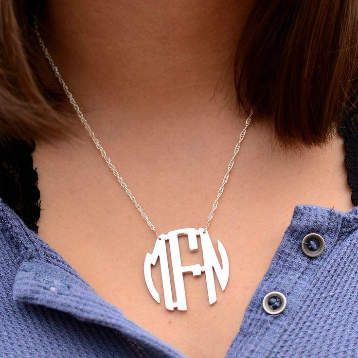 Medium Monogram Sterling Silver Circle Filigree Necklace