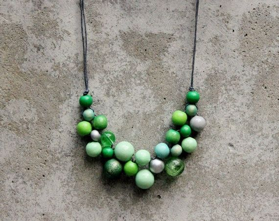 Wooden bead necklace, green bib necklace, mint, lime, emerald, boho bib necklace, contemporary necklace.  ALL THE COLORS.