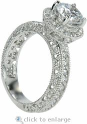 Cubic Zirconia Engagement Ring CZ Solitaire 14K White Gold By Ziamond The Roseta Features
