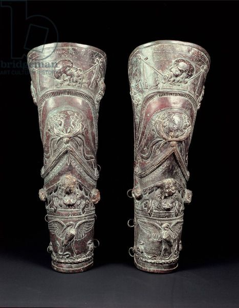 Pair of Greaves, Court of the Gladiators, Pompeii, 69-96 AD (bronze), Roman, (1st century) / Private Collection