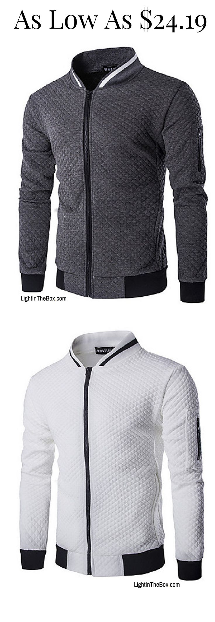Casual sporty men zipper jacket/ blazer. Perfect for comfort daily wear. Like it? Click on the picture to shop in grey/ black/ white colours at $24.19.