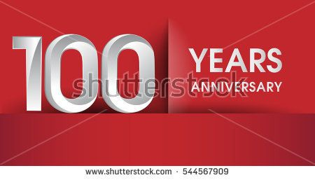100 Years Anniversary celebration logo, flat design isolated on red background, vector elements for banner, invitation card and birthday party.