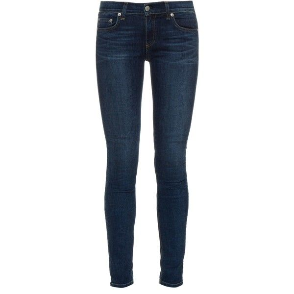 Rag & Bone Mid-rise skinny jeans (£185) ❤ liked on Polyvore featuring jeans, pants, bottoms, skinny jeans, calças, indigo, mid rise skinny jeans, denim skinny jeans, faded blue skinny jeans and blue jeans