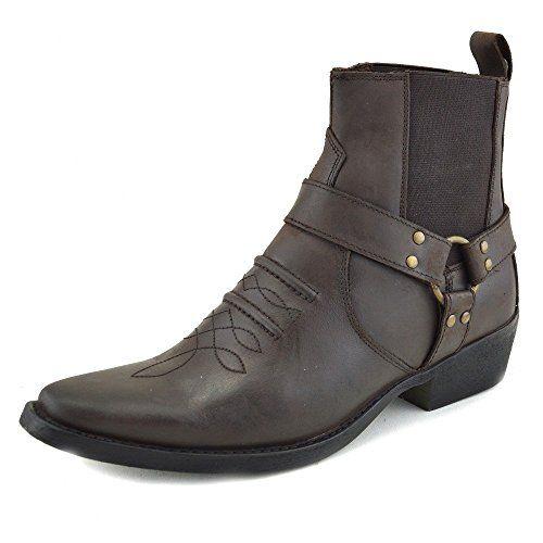 Herren-Cowboy-Ankle-Boots Aus Leder Biker-Boots - UK 7 / EU 41, Brown - 2 - http://on-line-kaufen.de/kick-footwear/41-eu-7-uk-kick-footwear-leder-herren-cowboy
