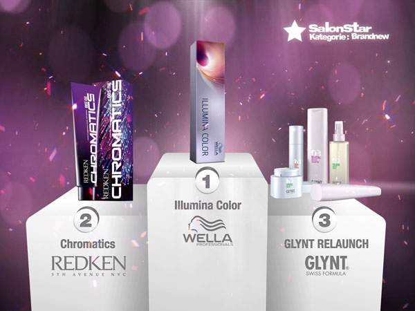 "Hier sind sie, Eure ""Hairdressers most voted"" die SalonStars 2013 in der Kategorie BrandNew:    1. Illumina Color - Wella Professionals  2. Chromatics  - REDKEN 5th Avenue NYC  3. GLYNT RELAUNCH  - GLYNT"