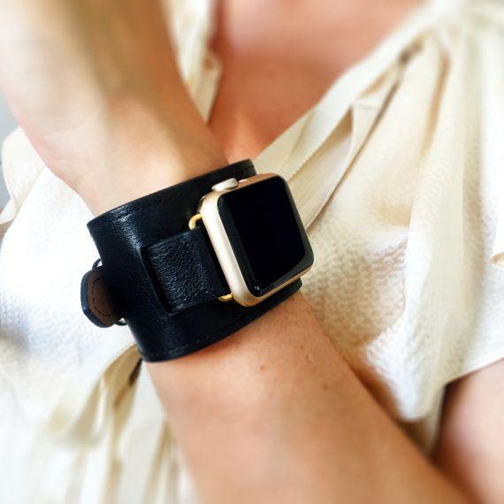 Black Apple Watch Band, 42mm or 38mm Apple Watch Cuff, Apple Watch Band, Black Watch Cuff, Apple Watch Strap, Apple Watch Sport Band