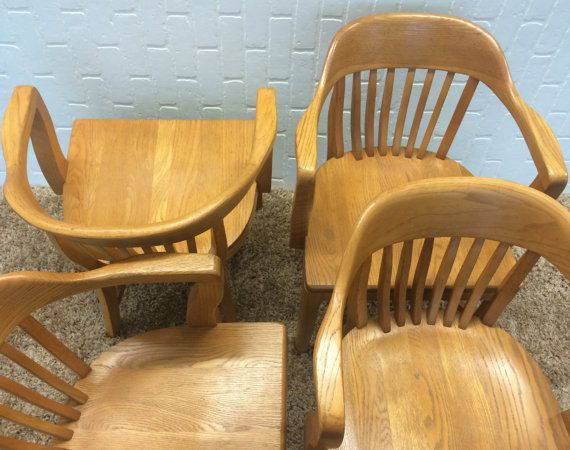 SALE Set Of 4 Vintage Boling Bankers Chairs/ Boling Chair Company/ 4 Library  Chairs