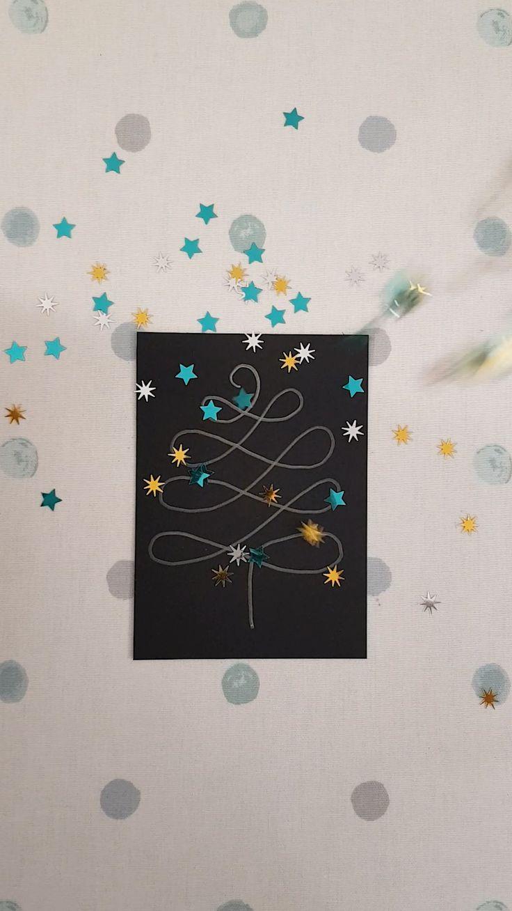 Dessin sapin hyper facile et paillette étoile. DIY Carte