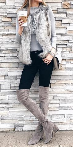 #winter #fashion / Faux Fur Vest + Grey Knit